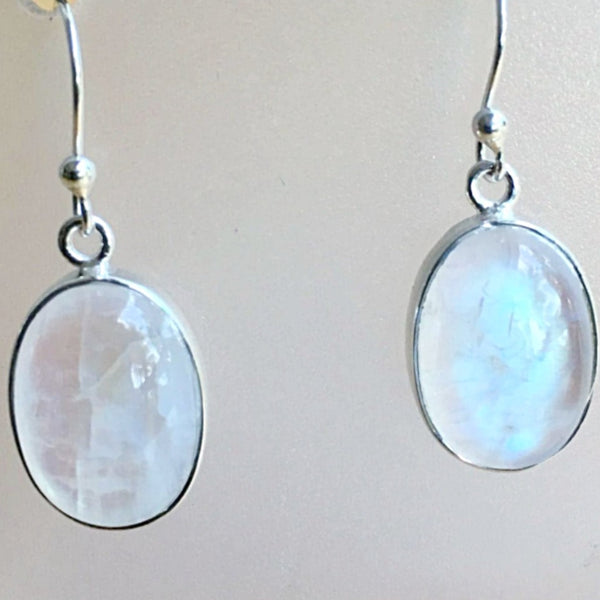 Rainbow Moonstone Oval Sterling Earrings | New Earth Gift