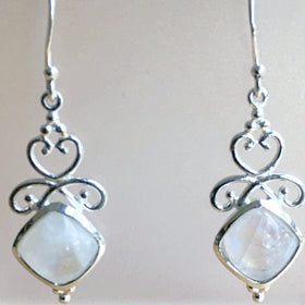Sterling Rainbow Moonstone Goddess Style Earrings - New Earth Gifts