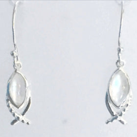 Moonstone Fish Symbol Sterling Earrings -New Earth Gifts