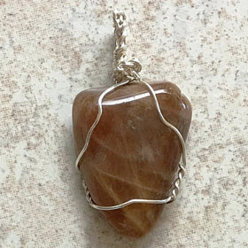 Natural Brown Moonstone Pendant Silver Wire | New Earth Gifts