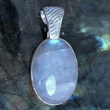 Rainbow Moonstone Oval Pendant with Decorative Sterling Bail - New Earth Gifts