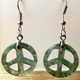 Peace Sign Moss Agate Dangle Earrings - New Earth Gifts