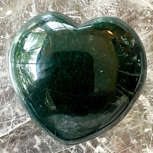 Moss Agate Heart - New Earth Gifts and Beads
