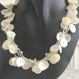 Mother of Pearl Multi Strand Disk Choker | New Earth Gifts