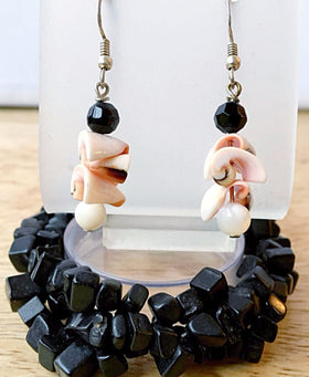 Obsidian Cuff Bracelet Multi Strand Stretch With Pearl & Shell Earrings