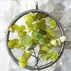 Tree of Life Pendant - Olive Jade - New Earth Gifts