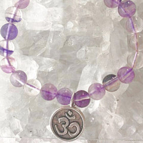 Om Beaded Bracelet - Fluorite Beads For Sale New Earth Gifts