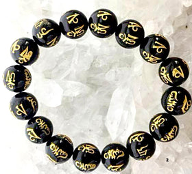 Om Beaded Bracelet (Unisex) - Black Glass Beads For Sale New Earth Gifts