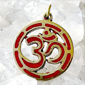 Om Pendant from Nepal - Coral Inlay in Circle Design - New Earth Gifts