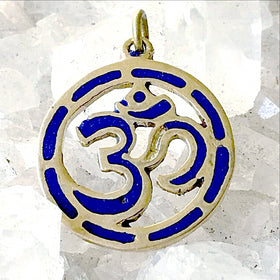 Om Pendant from Nepal - Brass Circle with Lapis Inlay - New Earth Gifts