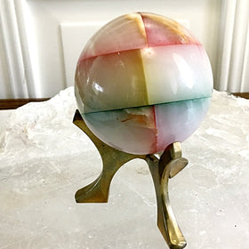 Multi Color Onyx Sphere and Brass Stand | New Earth Gifts