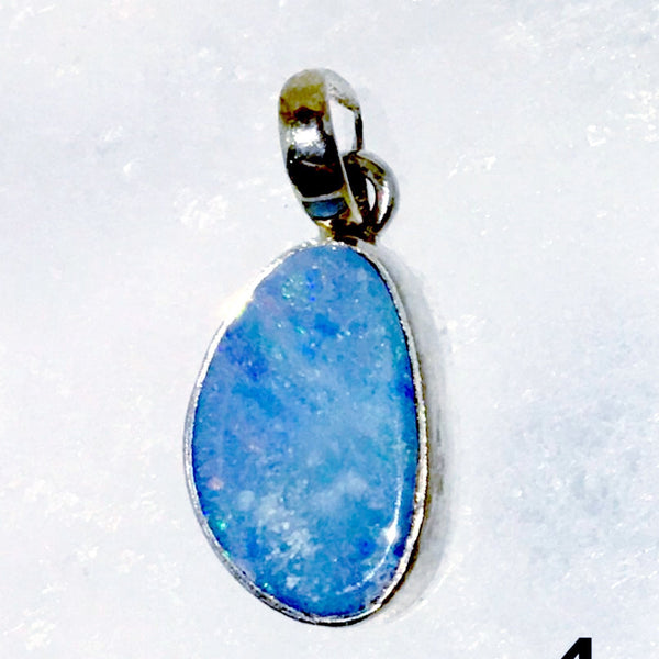 Blue Opal Sterling Silver Free Form Pendant - New Earth Gifts