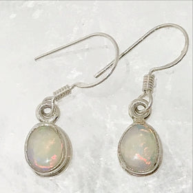 White Opal Sterling Dangle Earrings - New Earth Gifts