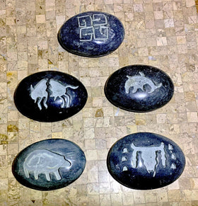 Stone Paper Weight Carved with Abstract Tribal Symbols - New Earth Gifts