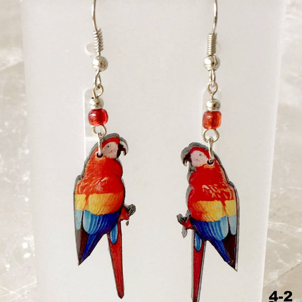 Wood Parrot Earrings Dangling Multi-Color Lacquered Finish - New Earth Gifts