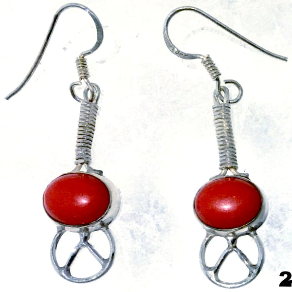 Peace Sign Coral Sterling Drop Earrings -New Earth Gifts