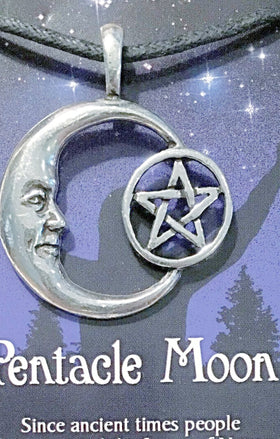 Celestial Pewter Pendant-Pentacle Moon | New Earth Gifts
