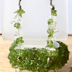 Peridot Cuff Bracelet 5 Strands with Peridot and Quartz Earrings - New Earth Gifts