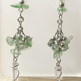 Quartz Point and  Peridot Chip Earrings - New Earth Gifts