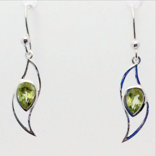 Peridot Faceted Sterling Wave Style Earrings | New Earth Gifts