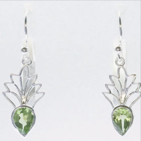 Peridot Sterling Silver Earrings Tiara Style - New Earth Gifts
