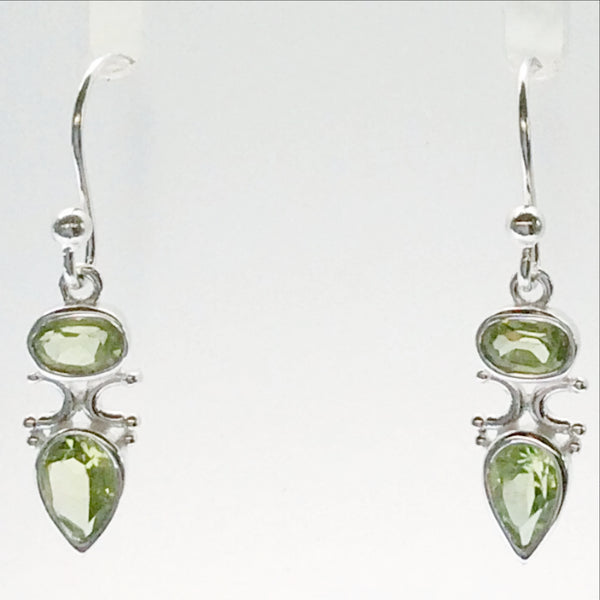 Peridot Faceted Goddess Earrings in Sterling Silver | New Earth Gifts