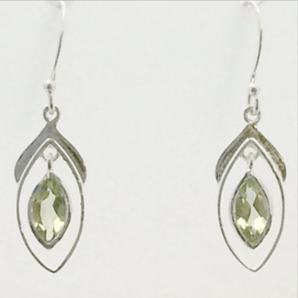 Peridot Sterling Faceted Earrings Double Marquis-New Earth Gifts