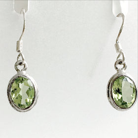 Peridot Faceted Oval Drop Sterling Earrings | New Earth Gifts