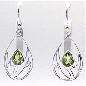 "Sterling Peridot Faceted Flower Earrings. 1.5"" long, abstract floral setting"