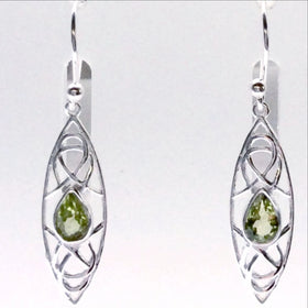 Faceted Peridot Sterling Earrings, Abstract Style, Marquis Shape