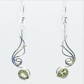 Peridot Sterling Earrings, Silver Angel Wings Styling - New Earth Gifts