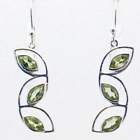 "Peridot Cascading Leaves Sterling Earrings show off beautiful faceted Peridot marquis stones. 1.5"" long"