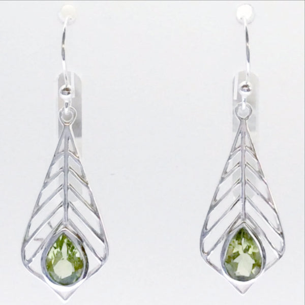"Sterling Peridot Palm Leaf Style Earrings 1.5"" long - Get that tropical vibe"