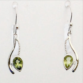 Peridot Curving Lines Faceted Sterling Earrings | New Earth Gifts