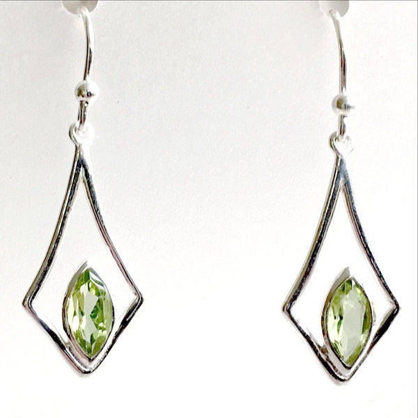 Peridot Faceted Marquis Style Sterling Earrings | New Earth Gifts