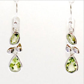 "Sterling Peridot Double Drop Style Earrings, 1.25"" long sparkling like green diamonds - New Earth Gifts"