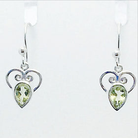 Peridot Faceted Heart Style Drop Sterling Earrings | New Earth Gifts