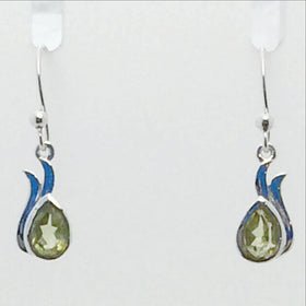 Peridot Faceted Dew Drop Sterling Earrings | New Earth Gifts
