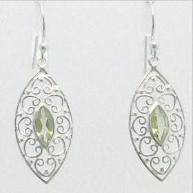Peridot Victorian Style Sterling Earrings | New Earth Gifts