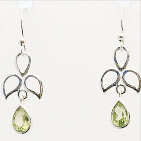 Peridot Faceted Angel Earrings | New Earth Gifts