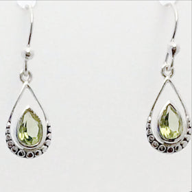 Peridot Faceted Tear Drop Sterling Earrings | New Earth Gifts