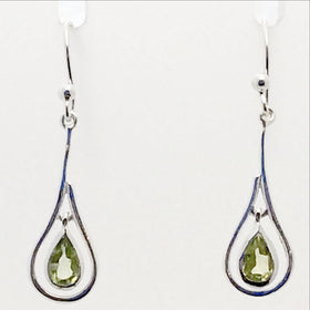 Peridot Faceted Dangle Sterling Earrings | New Earth Gifts