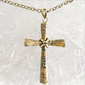 Picture Jasper Cross Pendant on 14kt Link Chain | New Earth Gifts