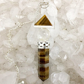 Tiger Eye Pendulum with Pyramid, Sphere and Point - New Earth Gifts