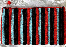 Beaded Clutch Purse - Black, Red and Turquoise - New Earth Gifts