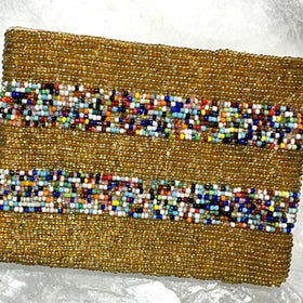 Beaded Coin Purse - Gold with Multi Colored Bands | New Earth Gifts