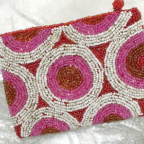 Beaded Coin Purse - White Pink and Gold - New Earth Gifts