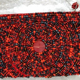Beaded Coin Purse - Red, Orange and Black - New Earth Gifts