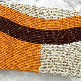 Beaded Coin Purse - Orange, Tan and Brown | New Earth Gifts