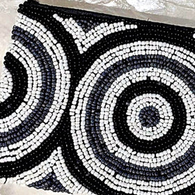 Beaded Clutch Purse - Black, Grey and White - New Earth Gifts